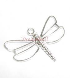 1x Bright Sterling silver Dragonfly Pendant dangle Charm bead 33mm