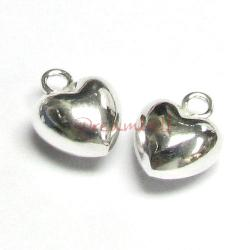2 x Sterling Silver Love Sweet Puff Heart Pendant Dangle Charm
