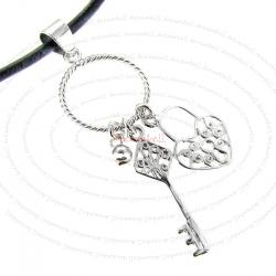 1x Sterling Silver Heart Love Lock Key Ring Dangle Pendant