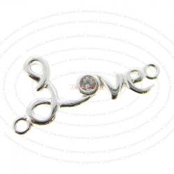 1x Sterling Silver Love CZ Dangle Charm Pendant / Link Connector 22.5mm