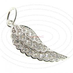 1x Sterling Silver Wing CZ Dangle Charm Pendant 26.5mm