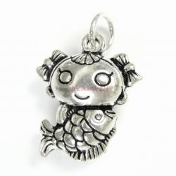 1 x Sterling Silver Girl Fish Fairy Tale Mermaid Dangle Charm Pendant