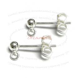 2x Sterling Silver 3mm Ball Stud Earring Loop Post 925
