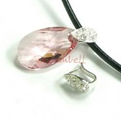 1X BRIGHT STERLING SILVER TEARDROP BAIL PENDENT CLASP with CZ