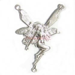 1x Sterling silver ANGEL BUTTERFLY LADY pendant dangle drop finding Connector 32mm