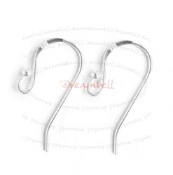 10 Sterling Silver French Hook earwires DOT BALL HOOK