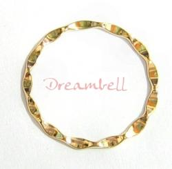 1x 14K Gold plated over STERL SILVER Round Wave hoop Jump ring Connector 23mm