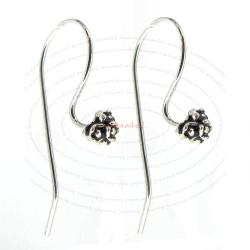 2x Sterling Silver earwires Flower French hook ear wire