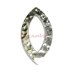 1x STERL SILVER ALMOND Hammered Jump ring Connector 27mm