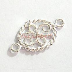 2x STERLING SILVER FLOWER Twist Link OVAL CONNECTOR 16mm