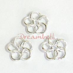 6x Bright Sterling Silver FLOWER SPACER BEAD CONNECTOR 6.6mm