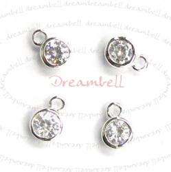 4x Sterling Silver Round CZ DANGLE CHARM PENDANT 5.5mm