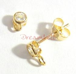 2x Vermeil 14K Gold plated over Sterling silver CZ Crystal Stud earring loop post