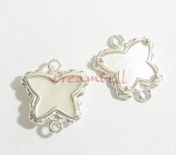 STERLING SILVER FLOWER BUTTERFLY Connector Bead 17mm W/ MOTHER OF PEARL