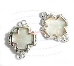 STERLING SILVER CROSS Connector Bead 19.7mm W/ MOTHER OF PEARL