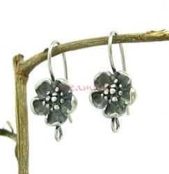 2x Sterling Silver Ear Wire Flower Earring Hook Earwires