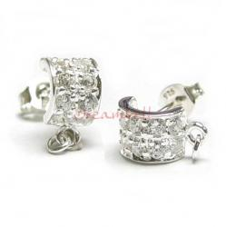 2x STERLING SILVER Earring posts half ROUND with cz stones with loop and ring