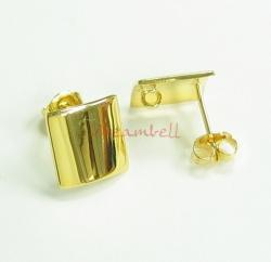 2x Gold STR SILVER CURVED SQUARE Stud EARRINGS 10MM W/ CLUTCHES