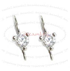2x Sterling Silver CZ Stone Crystal Ear wire French hook Earwires