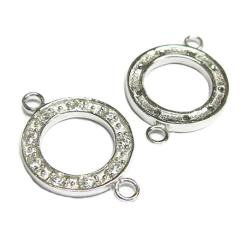 1x Rhodium Sterling silver CZ Crystal Round Link Connector 21mm