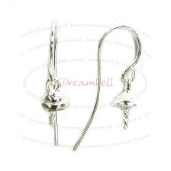 2x Sterling Silver Earring French Hook EarWire 5mm Pearl Cup