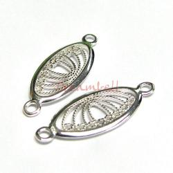 2x Sterling silver Flower Oval Pendant Link Connector 25mm