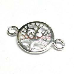 1 x Sterling silver Round Tree Pendant Link Connector 29mm