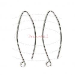2 x Rhodium Sterling silver EarWires Dangle French Hook