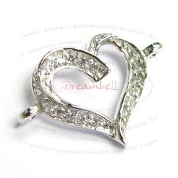 Rhodium on .925 Sterling Silver Love Heart CZ Crystal Link Pendant Connector