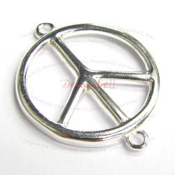 1x Bright  Sterling Silver Round Peace Link Connector 23.7mm