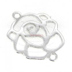 2x Bright Sterling Silver Rose Flower Link Connector 17mm