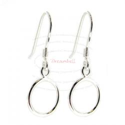 2x Sterling Silver Round Ear Wire Hook Earring Ring Loop Dangle Connector