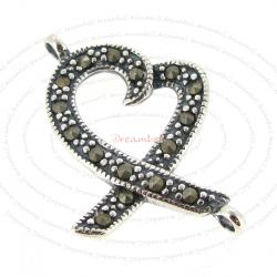 1x Sterling Silver Antique Peace Heart Ribbon Marcasite Link Connector