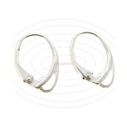 2x Sterling Silver Loop Dangle Charm Leverback Earwires Earrings 17mm x 11mm