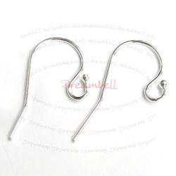 10x  Silver Filled .925 Ball End EarWire French Hook 23mm