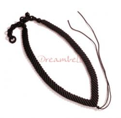 Chinese HAND KNOTTED SILK PENDANT CORD NECKLACE Dark Brown