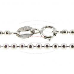 1x Rhodium Plated Over Sterling Silver Round Ball Chain Necklace 1.8mm w/ Spring Ring Clasp 16""