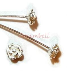 10 Sterling Silver Head pins Bali Rose dot Headpins 22GA 2""