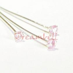 10  Ster Silver Head pin CZ Crystal Stone Pink Rose Headpins 24GA