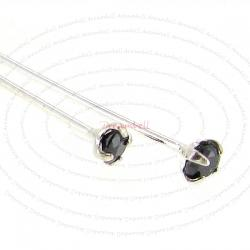 10 Ster Silver Head pin CZ Crystal Stone Headpins 24GA Jet Black