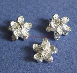 4x 925 Sterling Silver Flower spacer beads