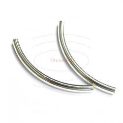 2x Sterling Silver Curved tube Bracelet Bead 3mm x 40mm