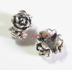 4x Sterling Silver Rose Rondelle Bead Spacer 4mm x 6mm