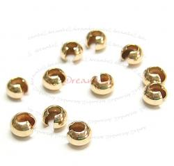 10x 14K GOLD FILLED CRIMP BEAD COVERS 4MM