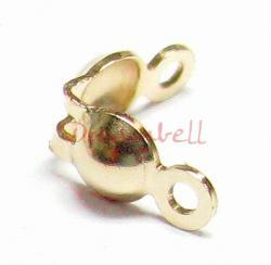 4x 14k gold filled Bead Tip Secure Clamshell Fold-Over 3.5mm