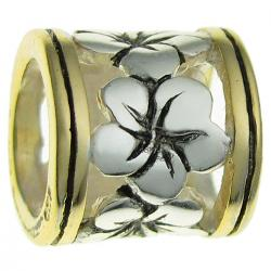 14K Gold Plated 925 Sterling Silver Frangipanni Flower for European Charm Bracelets