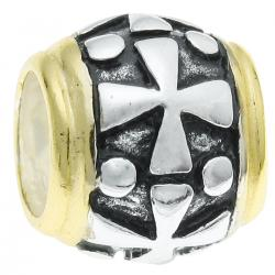14K Gold Plated 925 Sterling Silver Cross Barrel Bead for European Charm Bracelets