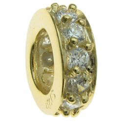 Gold 925 Sterling Silver ROUND RING Bead w/ clear CZ crystals Bead for European Charm Bracelets
