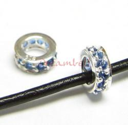 Sterling Silver ROUND RING Bead Sapphire CZ crystals for European Charm Bracelets