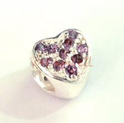 Sterling Silver HEART  Bead with Violet CZ crystal for European Charm Bracelets